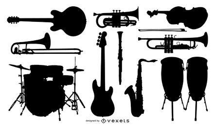 Instrumento de música de vector de silueta