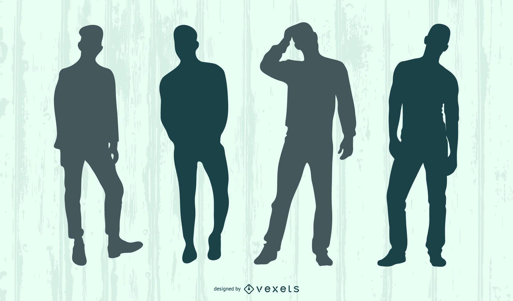 Conjunto de silueta de modelo masculino