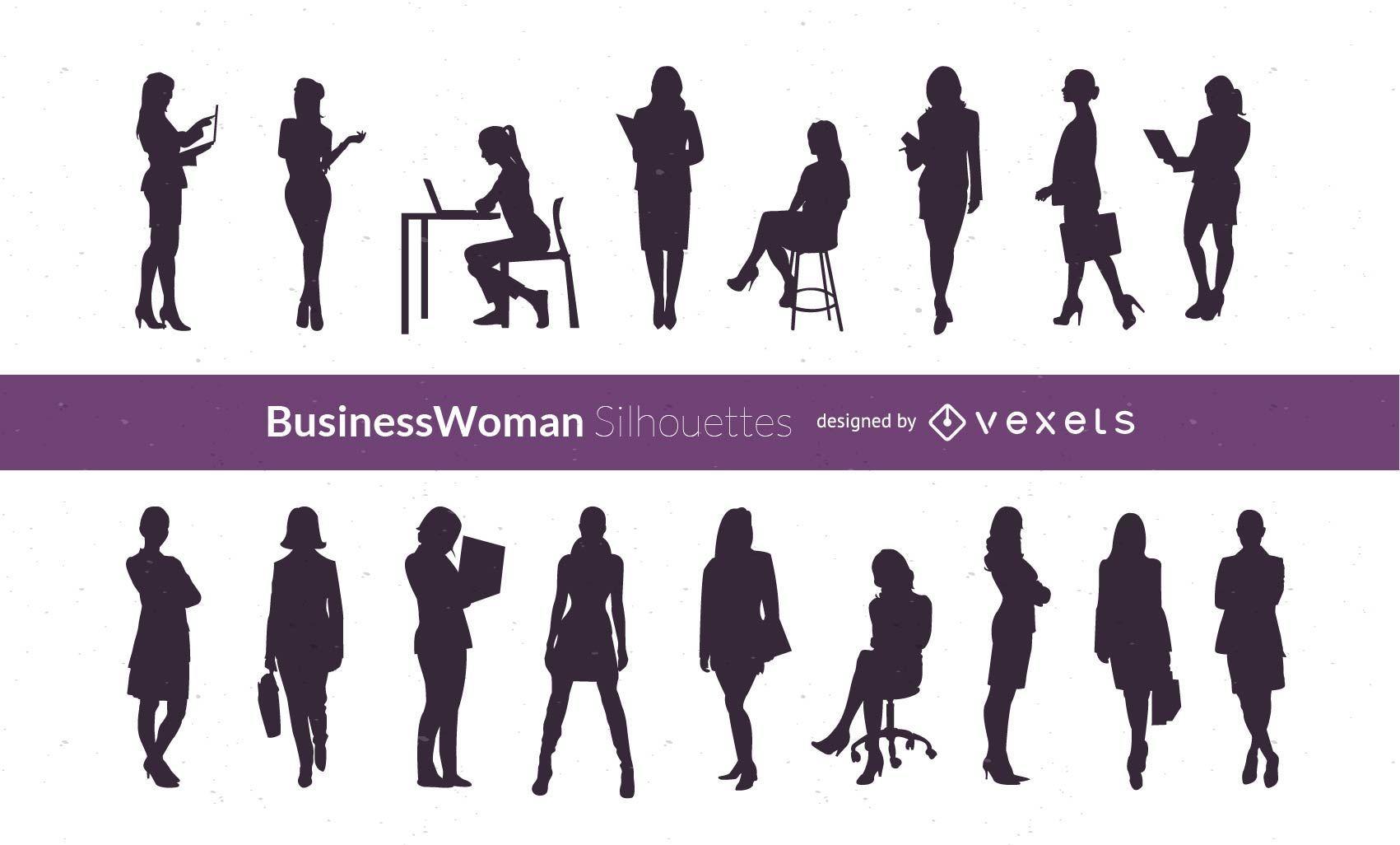 Silueta vector mujeres empresarias