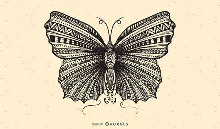 Vector de mariposa blanco y negro