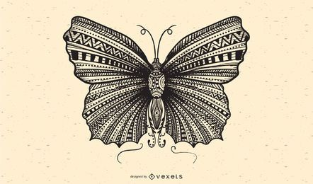 Vetor de borboleta preto e branco