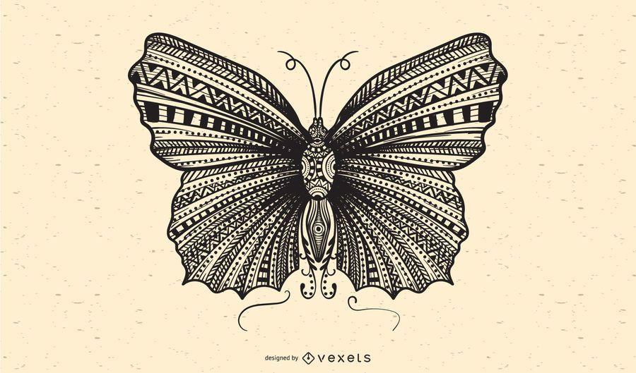 Vector negro y blanco de la mariposa