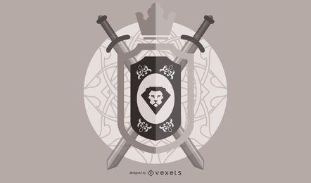 Crista medieval do leão do vintage