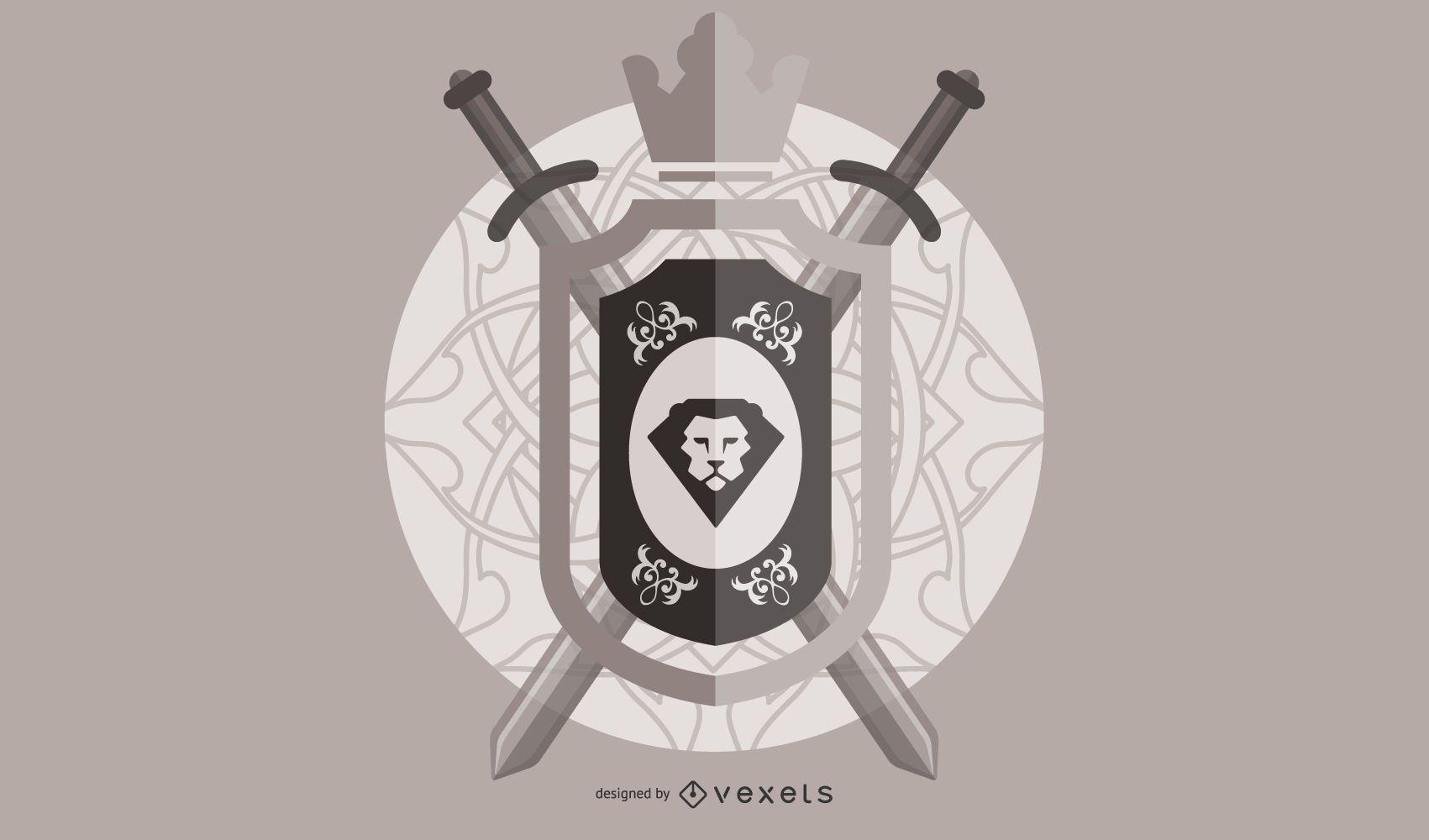 Cresta de león medieval vintage