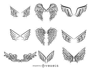 Vetor de pacote de asas esboçadas