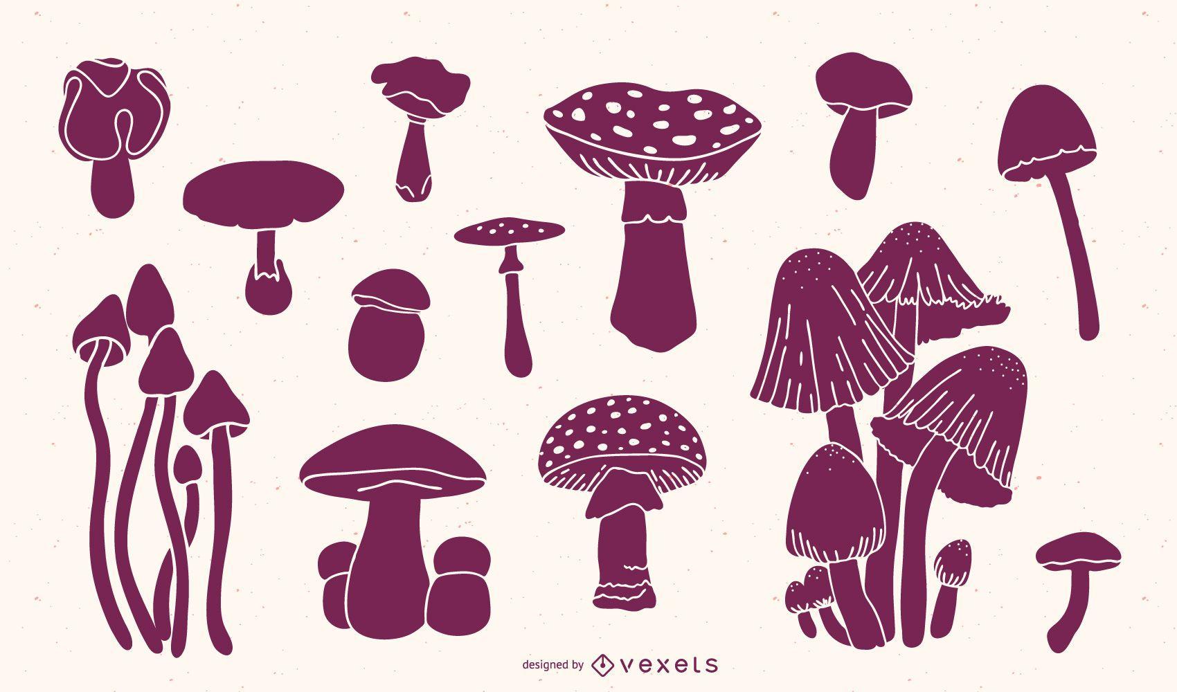 Mushroom silhouettes pack