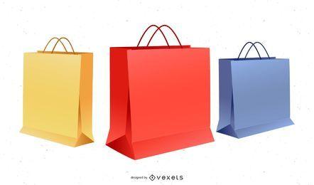 Bolsas y cajas de papel vector