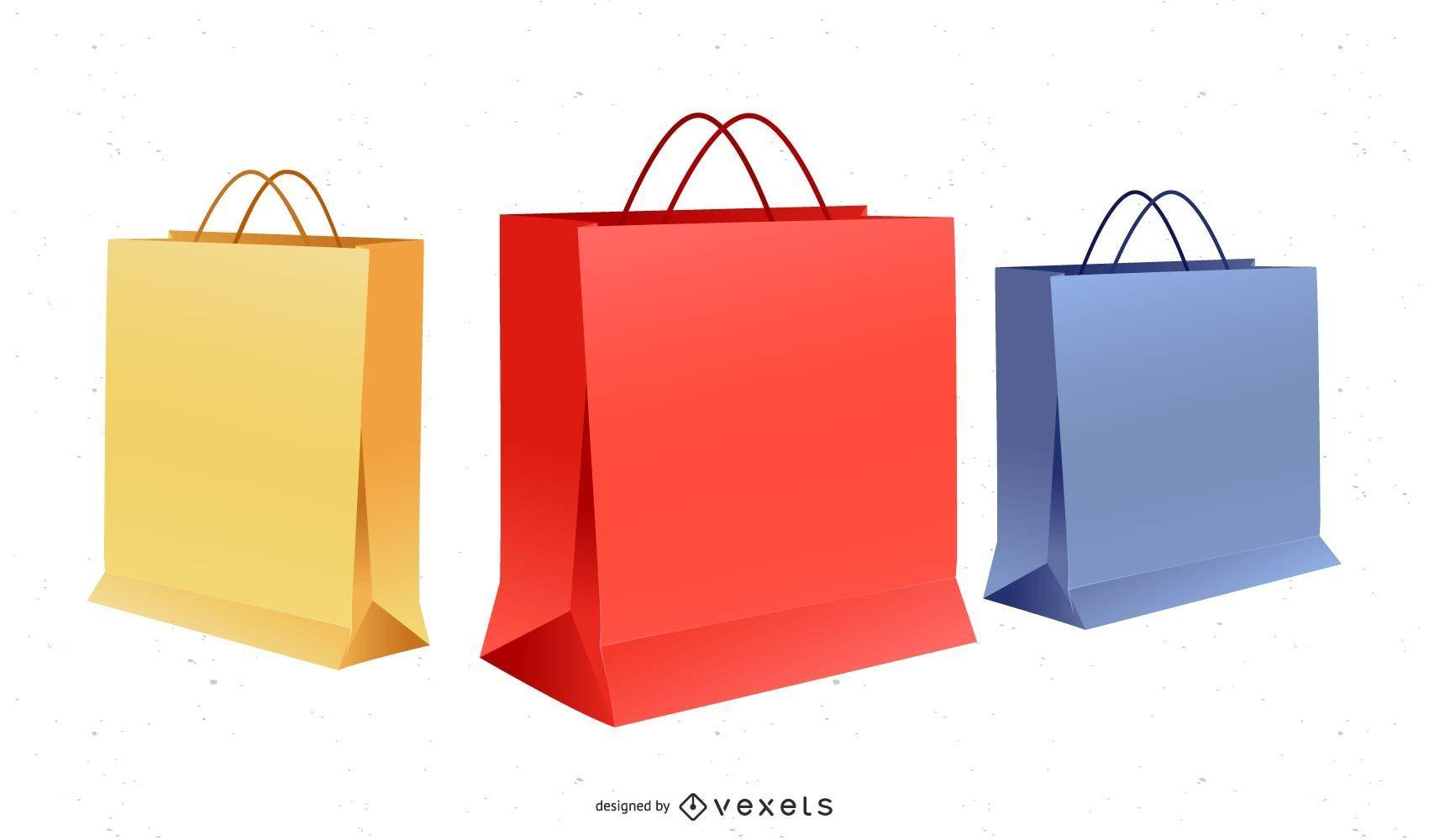 Cajas y bolsas de papel de vector