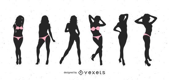 Vector de Strippers desnuda silueta