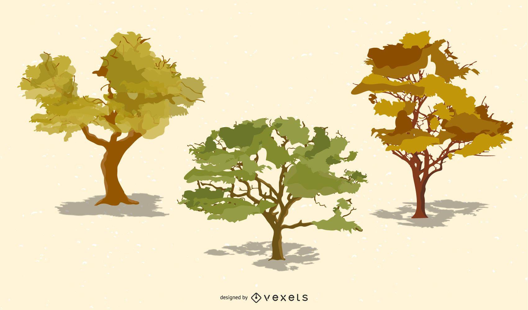 Vector árboles realistas