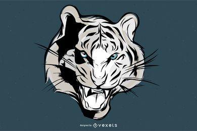Vetor de rosto de tigre de bengala