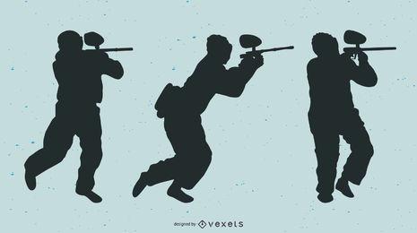 Schattenbild-Paintball-Spieler-Vektor
