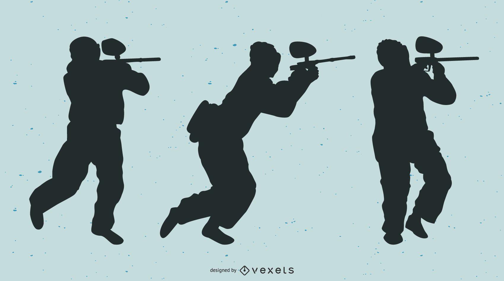 Vector de jugadores de paintball de silueta