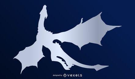 Vector silueta de dragón de plata