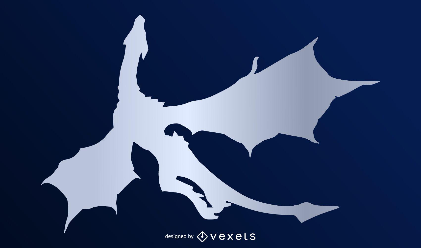 Vector de silueta de dragón plateado