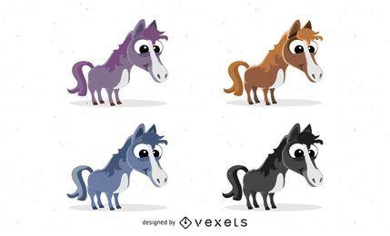Ícones de vetor de cavalo dos desenhos animados