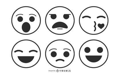 Pack de emoticonos de arte lineal