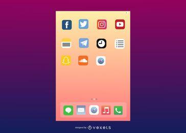Interface de usuário vetorial do IOS7