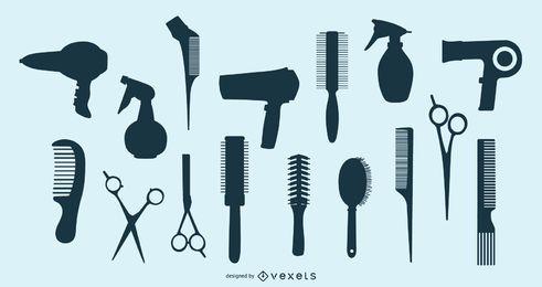 Paquete de elementos de silueta de peluquería