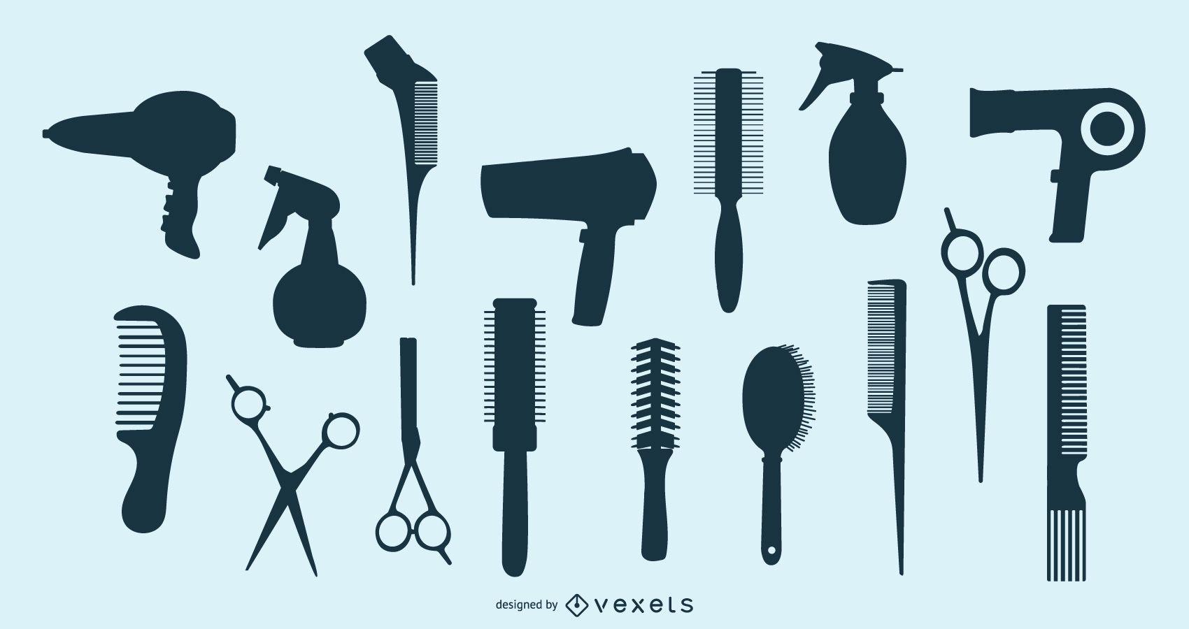 Hair Salon Silhouette Element Pack