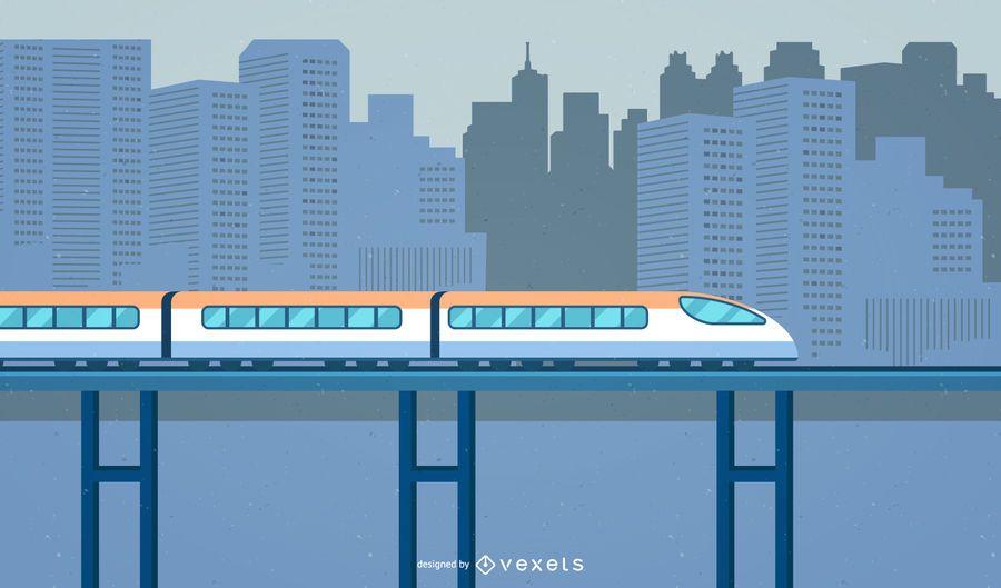 Trem de alta detalhe da cidade