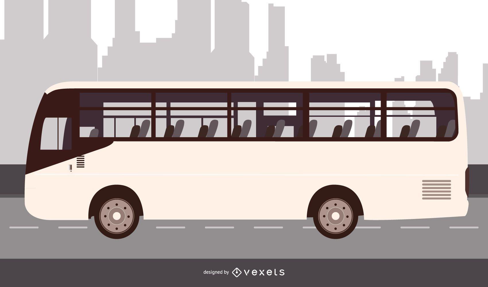 Diseño plano de autobús urbano
