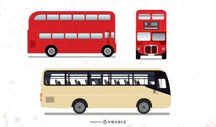 Conjunto de ônibus grande de detalhes altos