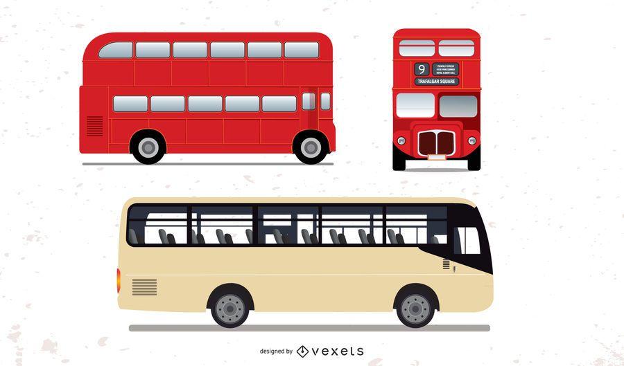 Conjunto de ônibus grande detalhe alto