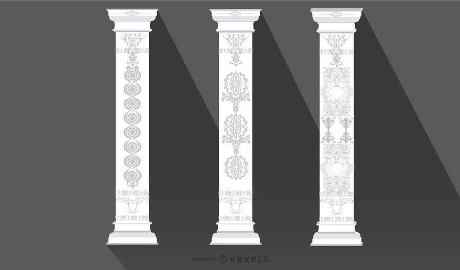 Pilar ornamental floral de la vendimia