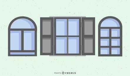 Paquete de marco de ventana gris plano