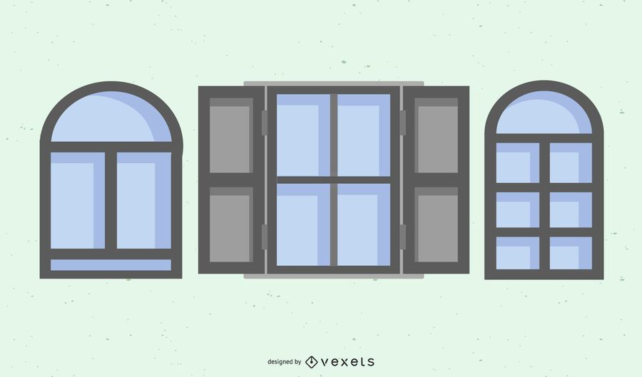 Flat Gray Window Frame Pack