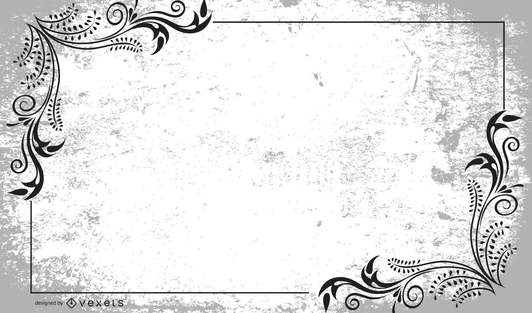Diseño de marco floral remolino sucio