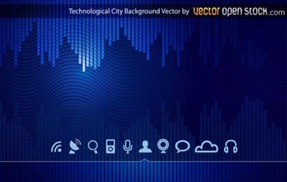 Fondo de ciudad de horizonte tecnológico