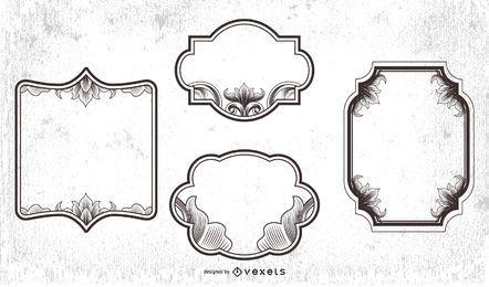 Pacote de Moldura Preto e Branco Vintage