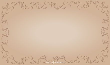 Plantilla de marco floral rizado vintage