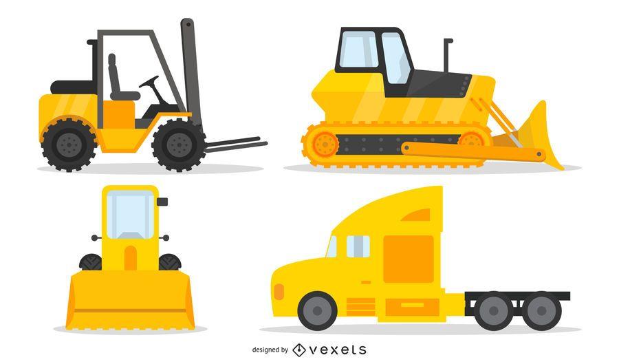 Paquete de vehículo amarillo de construcción pesada