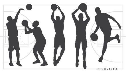 Jogo de basquete silhueta