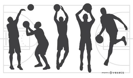 Silhouette-Basketball-Spiel