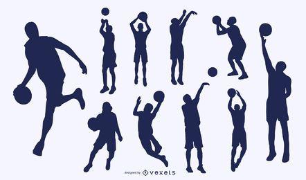 Jogo de basquete da silhueta