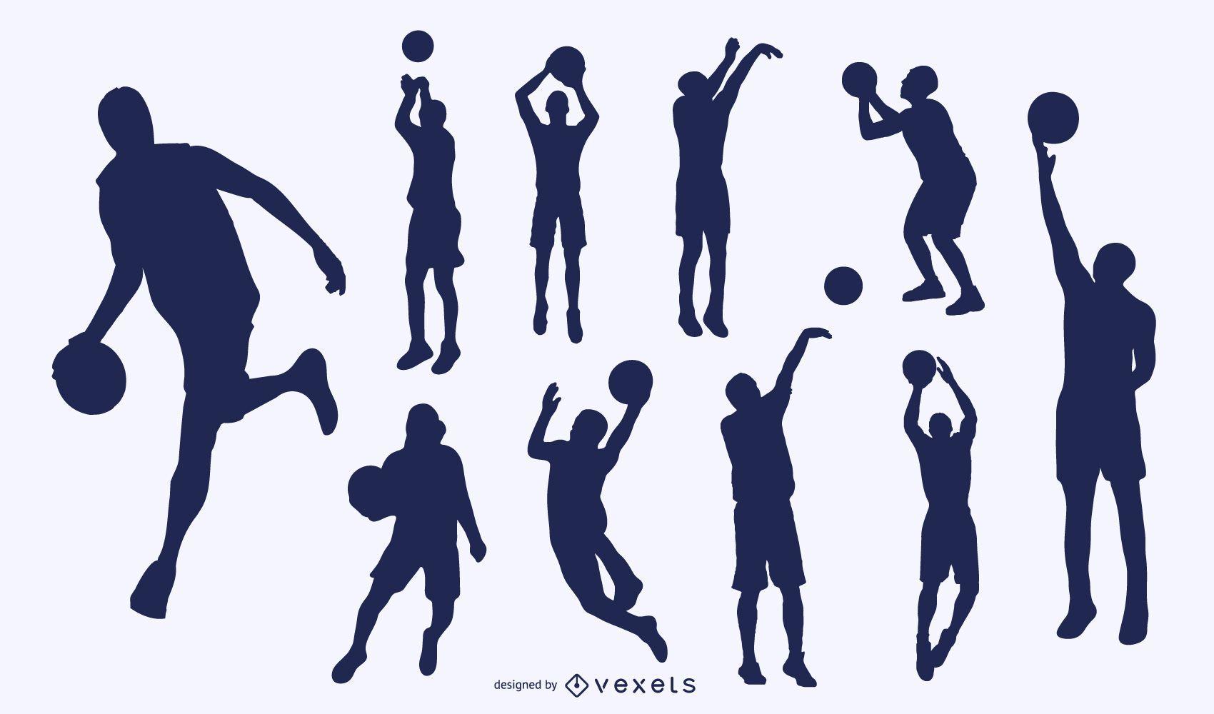 Silueta juego de baloncesto