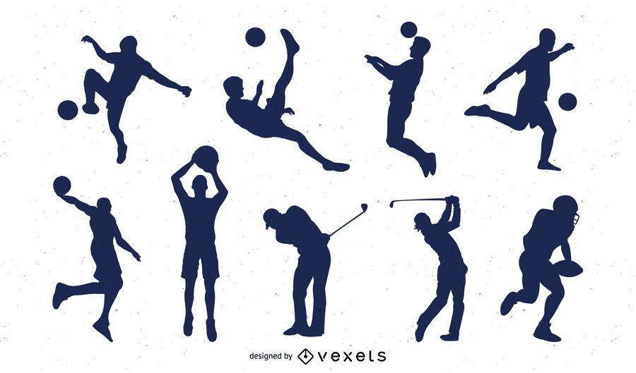 Pacote de jogador de esportes de silhueta