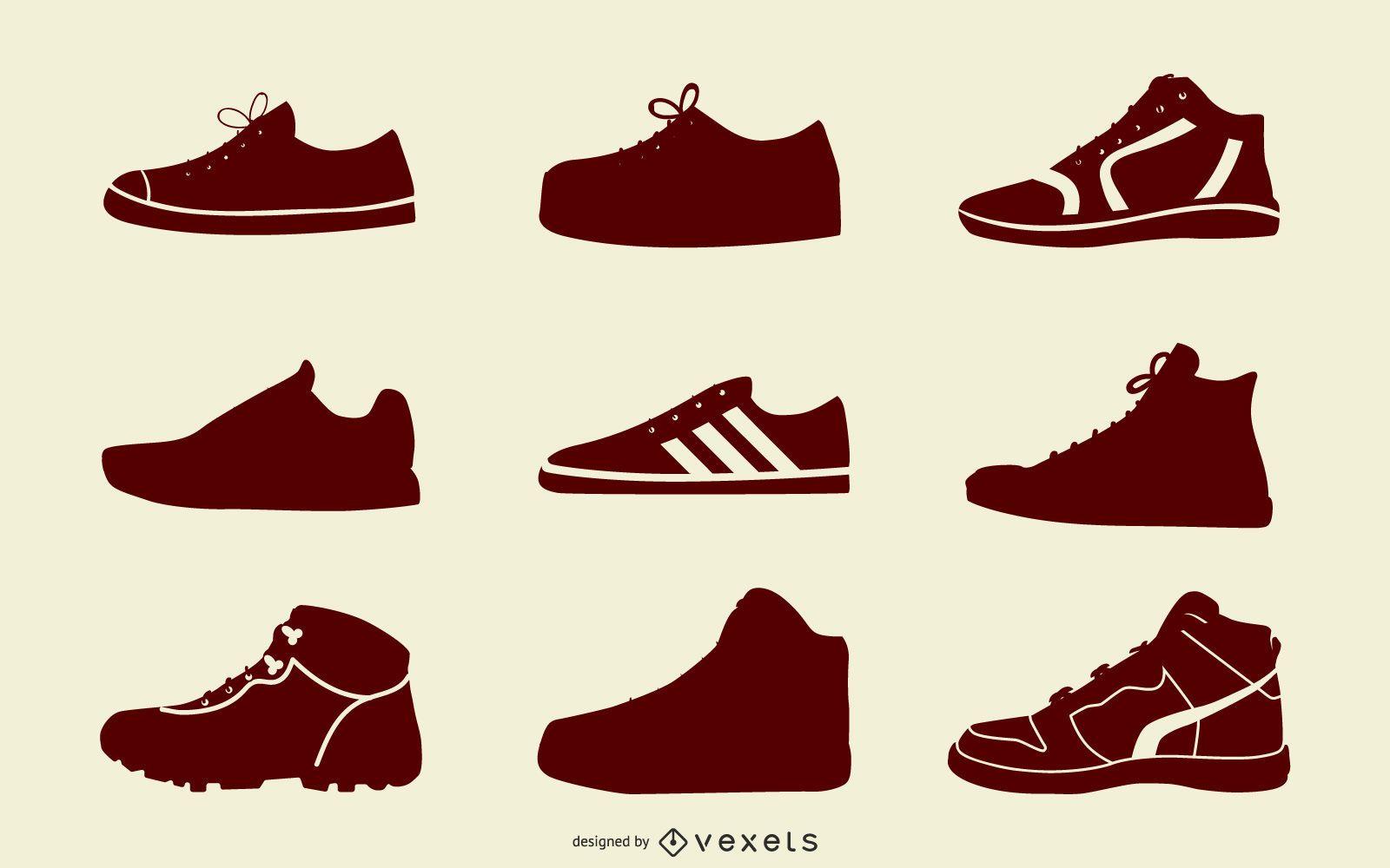 Pacote de botas esportivas preto e branco