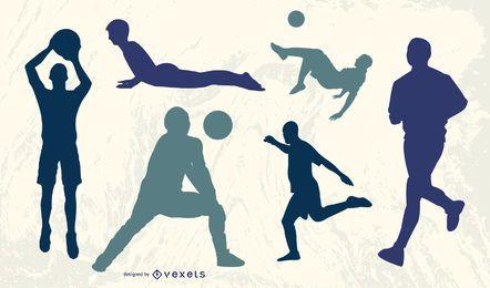 Jogadores, executando, com, futebol