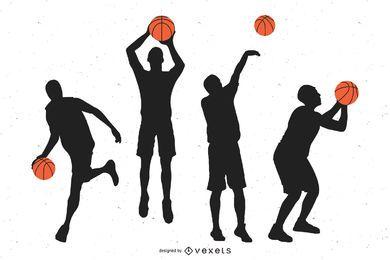 Jugadores que juegan con el baloncesto