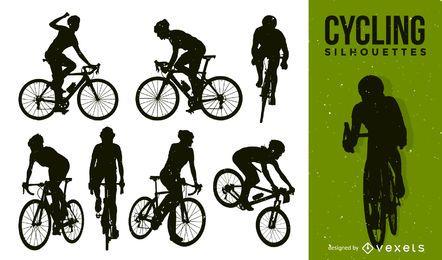 Pacote de bicicleta silhueta