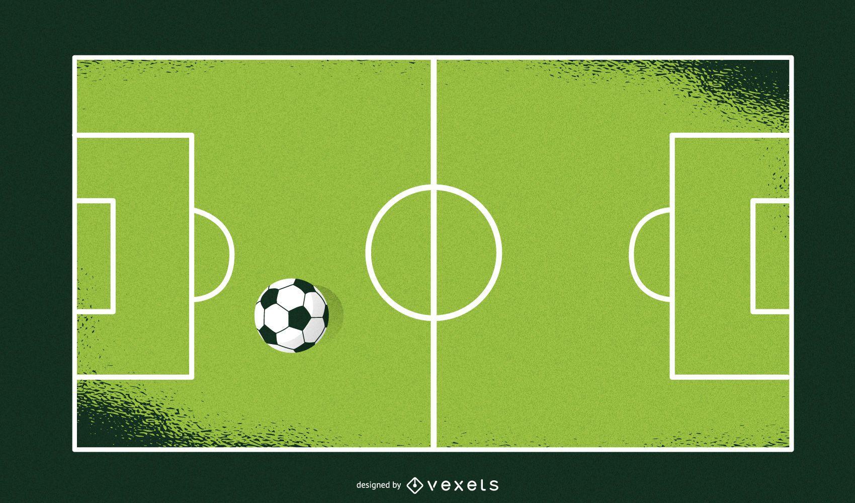 Campo de fútbol artístico y pelotas