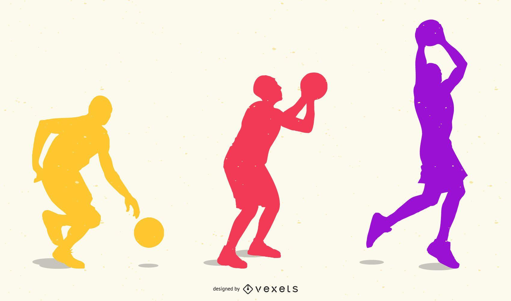 Silueta de movimiento de juego de baloncesto