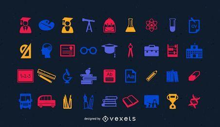 Pacote de ícones de educação e ciência