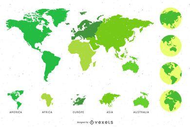 Paquete de globo con mapa alrededor