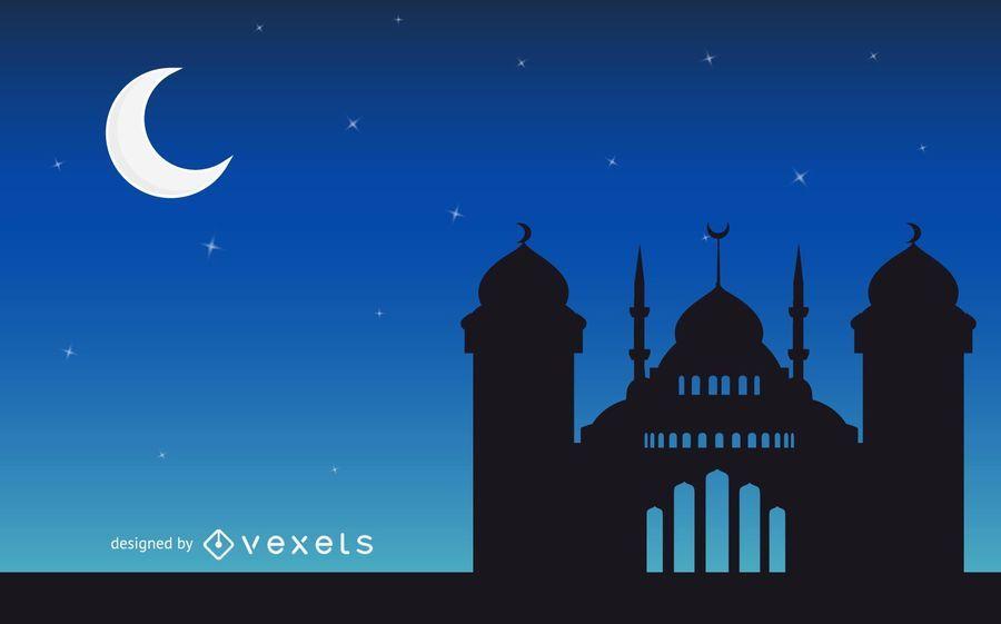 Saudações islâmicas com mesquita